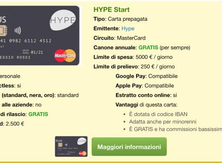 Carta prepagata HYPE – RECENSIONE
